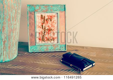 Vintage Photo Frame With Motivational Text