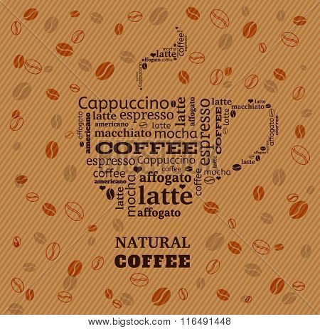 coffee cup typography from words on fabric background with coffee beans