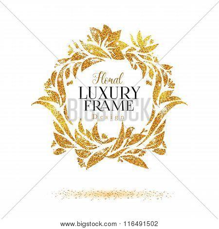 Luxury golden floral elements frame