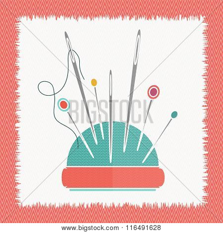 The pillow  for needles flat vector illustration