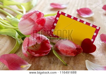 Pink tulips with  card on wood background.