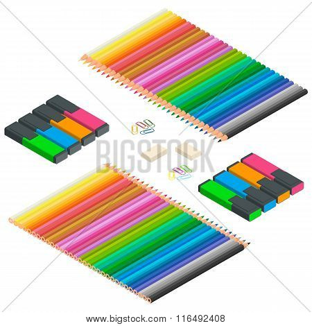 Color pencils, Multicolored highlighters, highlighters, colorful paperclips isolated on white backgr