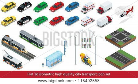 Isometric high quality city transport icon set Subway train, Police, taxi truck car Mini, sedan heli