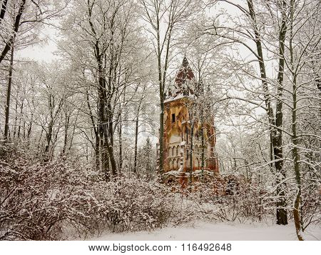 church in the winter wood
