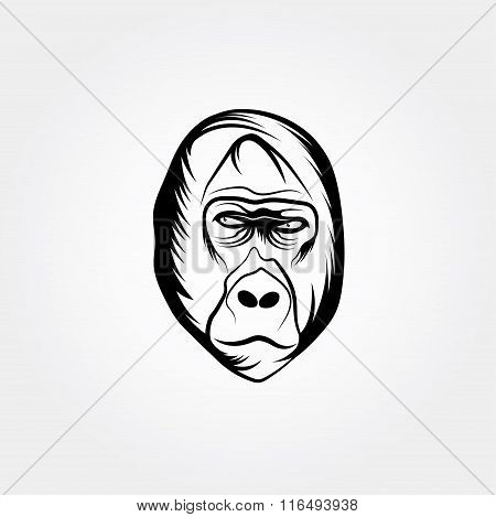 Head Gorilla Vector Design Template