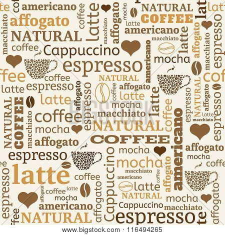 seamless background with typography from words coffee beans and hearts