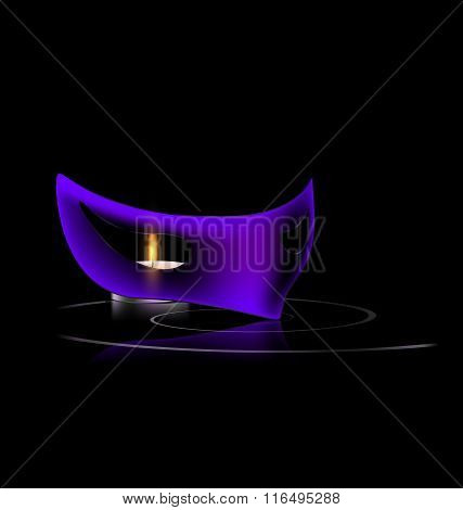 purple mask and candle