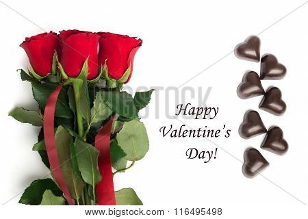 Tag Happy Valentine's Day With Boquet Of Red Roses And Candies
