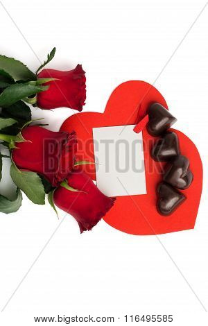 Bouquet Of Red Roses, Two Red Paper Hearts And Candies