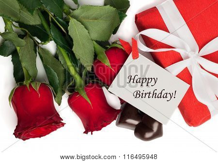 Tag Happy Birthday With Red Present Box And Ribbon, Red Roses