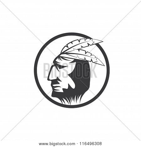 Native American Chief Man In Tribal Headdress