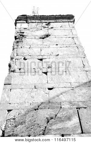 Old Tower And Marble Brick In Europe Athens Acropolis And Sky