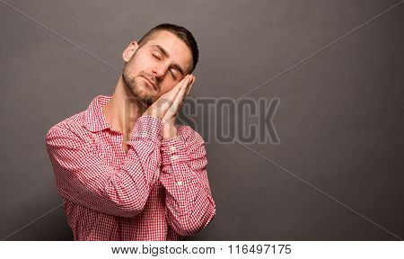 Sleepy man in studio