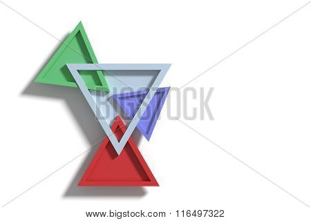 Four Colorful Three-dimensional Triangles Crossing Each Other