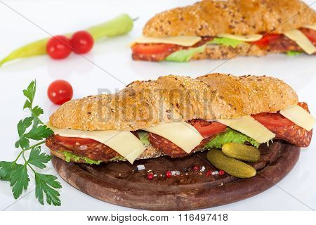 Salami and cheese sandwiches