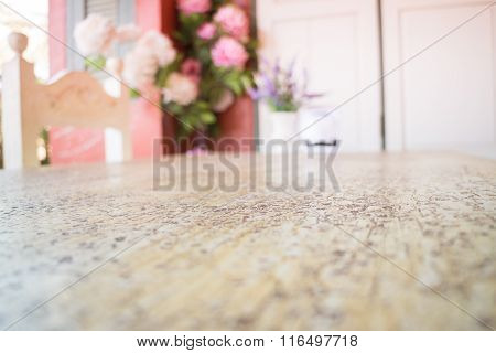 Wooden Table Decorated With Flower Bouquet