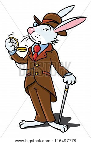 Rabbit in the costume of a gentleman