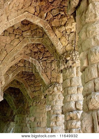 Park Guell Aligned Columns And Arches, Barcelona, Spain