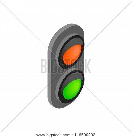 Railway traffic light isometric 3d icon