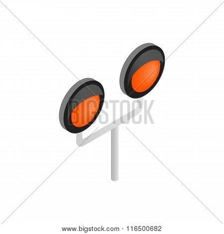Railway crossing light isometric icon