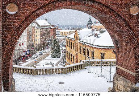 Helsingborg Winter Through The Archway