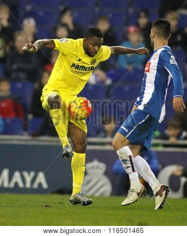 BARCELONA - JAN, 23: Cedric Bakambu of Villareal CF during a Spanish League match against RCD Espanyol at the Estadi Cornella on January 23, 2016 in Barcelona, Spain