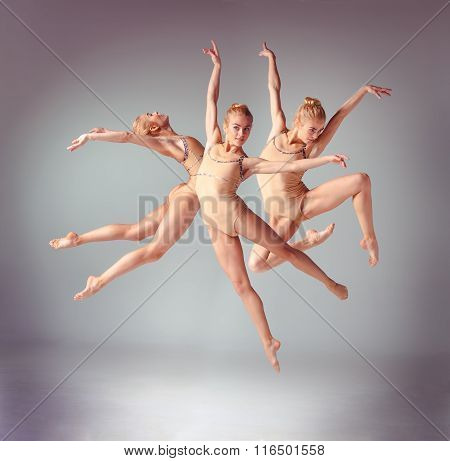 The young beautiful ballerina dancer jumping on a gray background. Collage