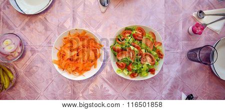 Fresh Vegetable Salad Served . Dinner