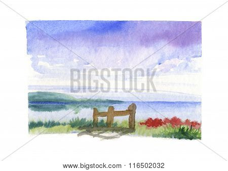 Sea with stockade artwork