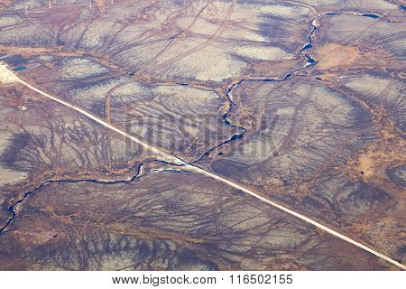 Road In Tundra, Top View