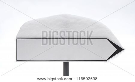 Road Sign Post With A Snow Hat