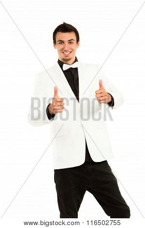 Successful man giving thumbs-up.