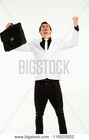 Excited man with briefcase.