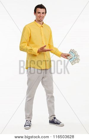 Young smash director holding money.