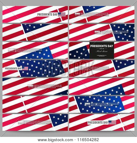 Set of modern banners. Presidents day background with american flag, abstract vector illustration