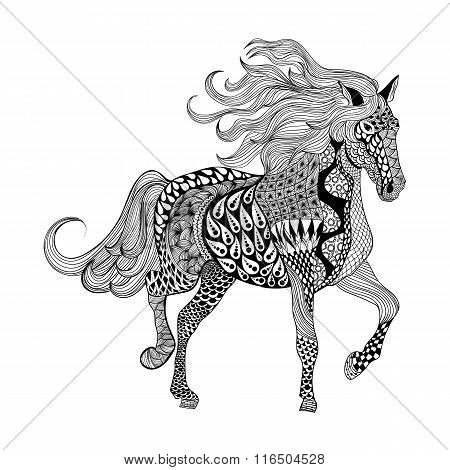 Zentangle stylized Black Horse. Hand Drawn doodle vector illustr