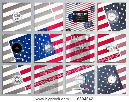 Set of 12 creative cards, square brochure template design. Presidents day background with american f