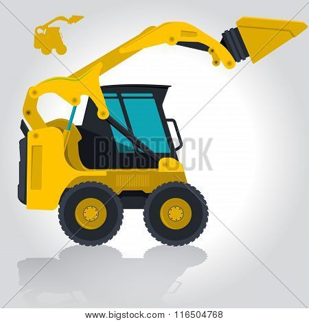 Yellow small digger excavator builds roads, on white.