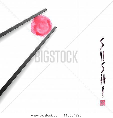 Vector design element for menu, logo, card. Sushi restaurant, Japanese cuisine