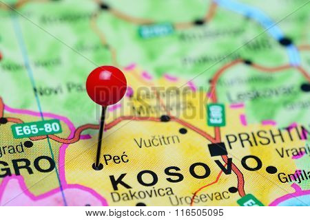 Pec pinned on a map of Kosovo