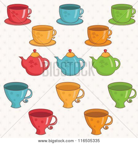 Illustration Of Cartoon Collection Of Cup And Teapot .vector.