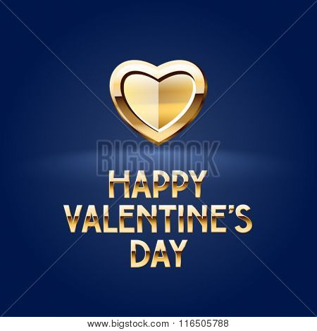 Premium vector greeting card for St Valentine's Day with golden heart and text