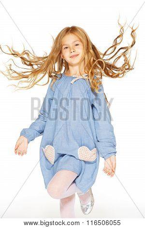 Jumping little girl
