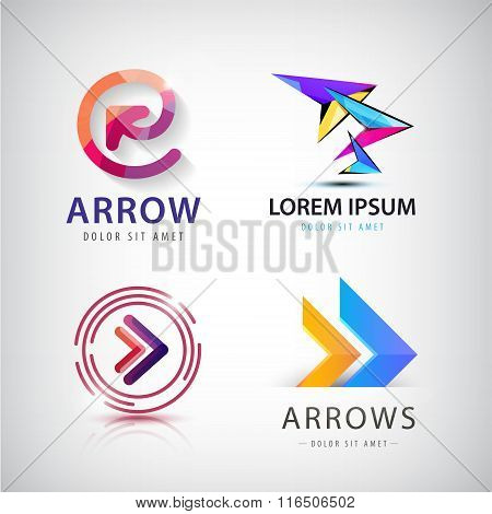 Vector set of 3d colorful arrow logos, icons