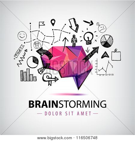 Vector creative logo, brainstorm creating new ideas, teamwork illustration