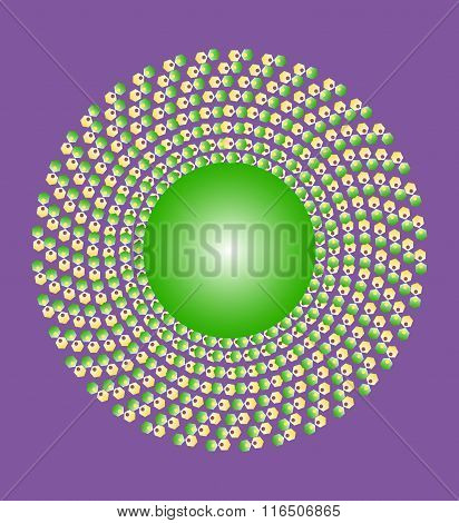 Yellow green ornament on a purple background