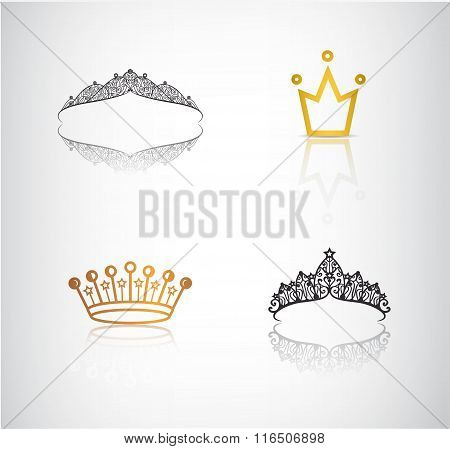 Vector set of crowns, tiaras, lace and simple crown logos, icons