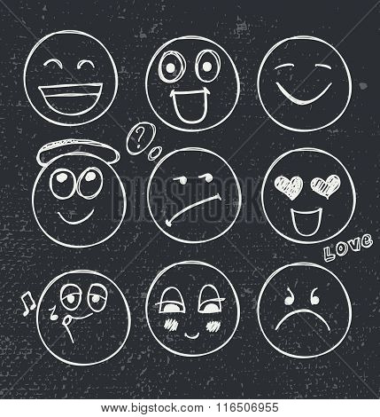 vector set of hand drawn faces, moods.
