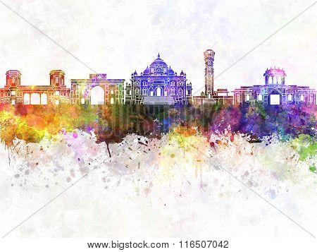 Ahmedabad skyline in watercolor background