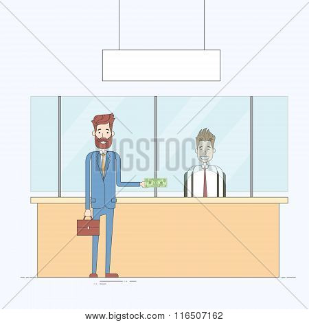Business Man Give Cash Dollar Bank Office Worker Payment Tax Businessman